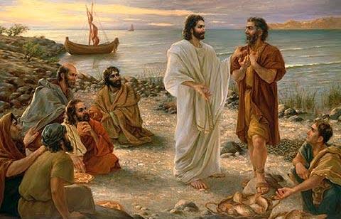Jesús, reparte panes y pescado
