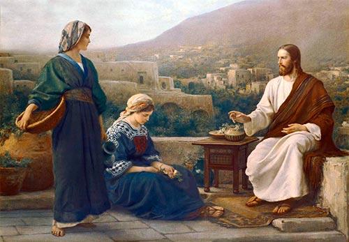 Marta y María con Jesús