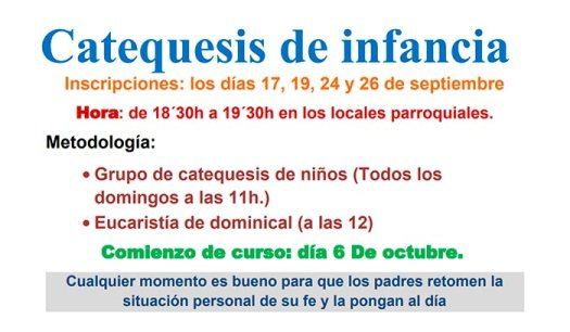 Cartel con la información de catequesis de infancia