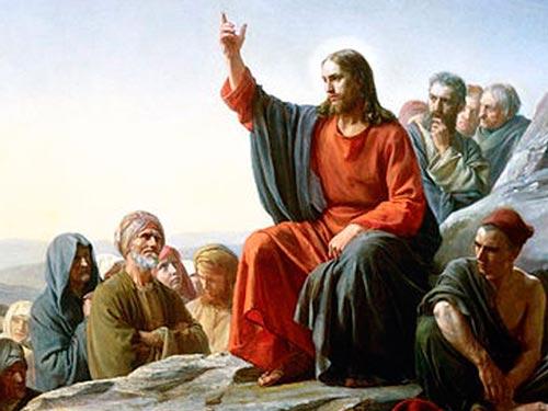 Jesús predica en el monte