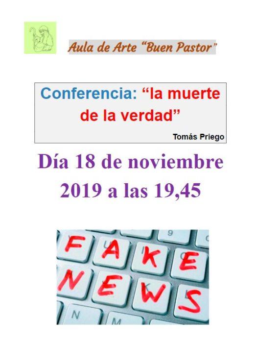 Cartel de la conferencia la muerte de la verdad