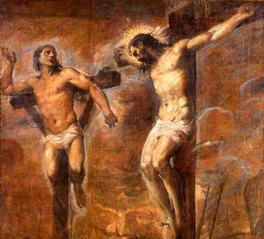Ladrón y Jesús en la cruz